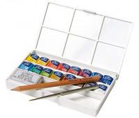 Акварельные краски Winsor Cotman HaLf Pan Studio Set, 16 шт+ пензлик арт 390060