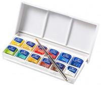 Акварельные краски в наборе Winsor Cotman Sketchers' Pocket Box, 12 шт + кисть, 0390640 Winsor