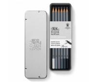 Winsor набор карандашей графитовых в металле Graphic pensil, 6 шт B2,4,6,8, HB, 2H арт 490006
