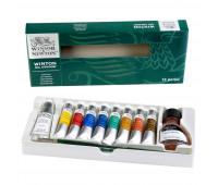 Масляные краски набор Winsor Winton Studio Set, 8х21 мл + белила 60 мл, растворитель + кисти арт 1490691