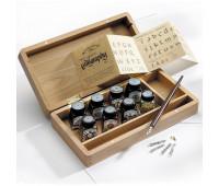 Набор для каллиграфии Winsor 8х14мл, 5 пер, деревянный держатель, бумага, в деревянной упаковке 697066