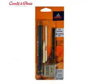 Набор для эскизов Conte Drawing Set, 2 карандаша, 2 комеля, угля, клячка арт 750073