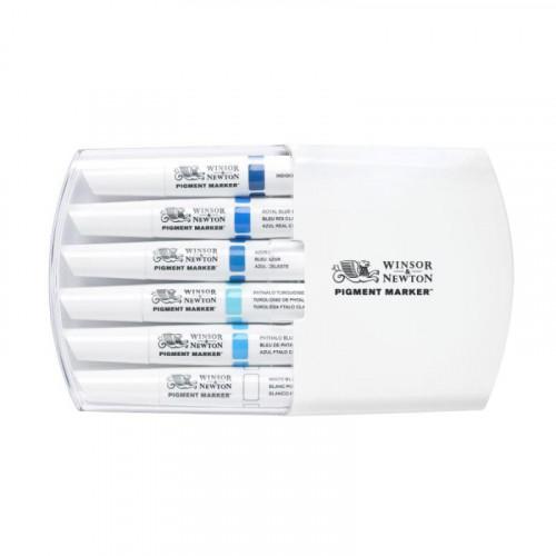 Набор маркеров Winsor Pigment marker Голубые тона, двусторонние, 6 шт, WN, 0290044