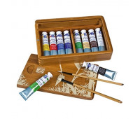 Масляные краски в наборе FINE OIL SET Wooden box Natura, 10х20 мл + 2 кисти, 106154 Lefranc Bourgeois