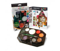 Краски для грима в наборе пензлик + губка Scary faces hanging paleitte kit (halloween kit), 8х2