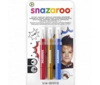 Кисти для грима в наборе Snazaroo Brush Pen, 3x2 мл, синій, золотій, червоний арт 1180140