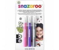 Кисти для грима в наборе Snazaroo Brush Pen, 3x2 мл, рожевий, фіолетовий, срібний арт 1180141
