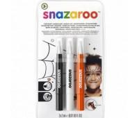 Кисти для грима в наборе Snazaroo Brush Pen, 3x2 мл, чорний, білий, помаранчевий арт 1180142