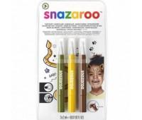 Кисти для грима в наборе Snazaroo Brush Pen, 3x2 мл, оливковий, жовтий, коричневий арт 1180143