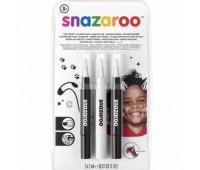 Кисти для грима в наборе Snazaroo Brush Pen, 3x2 мл, чорний 2шт, білий арт 1180156