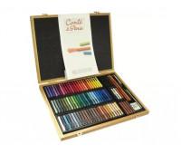 Набор пастели цветной Conte Colour carres assorted 70 цветов + аксессуары