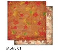 """Бумага Folia, дизайнерская Design Papers """"Autumn"""" (Осінь) 190 гр, 30,5x30,5 см №01 Motif 01"""