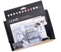 "Маркеры Copic 12 шт в наборе Marker Set ""Architechure colours"", в футляре - 20075731"