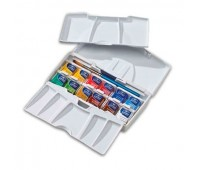 Акварельные краски Winsor Cotman Half Pan Studio Set, 12 шт + кисть