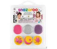 Краски для грима в наборе Snazaroo Butterfly, 3 краски + 3 трафареты
