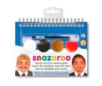 Краски для грима в наборе Snazaroo MOUST, 4 краски + 1 кисть
