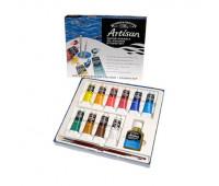 Масляные краски водорастворимые Winsor Artisan Studio Set,10х37 мл + водорастворимое льняное масло + кисть