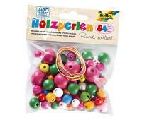 Бисер деревянный, Folia Wooden Beads, 84 шт, круглій