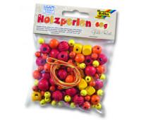 Бисер деревянный, Folia Wooden Beads, 60 гр, желто-оранжевій