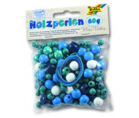 Бисер деревянный, Folia Wooden Beads, 60 гр, бирбзово-синий
