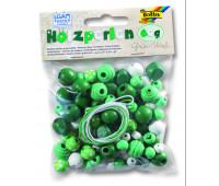 Бисер деревянный, Folia Wooden Beads, 60 гр, зелено-белій