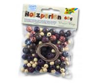 Бисер деревянный, Folia Wooden Beads, 60 гр, бежево-коричневій